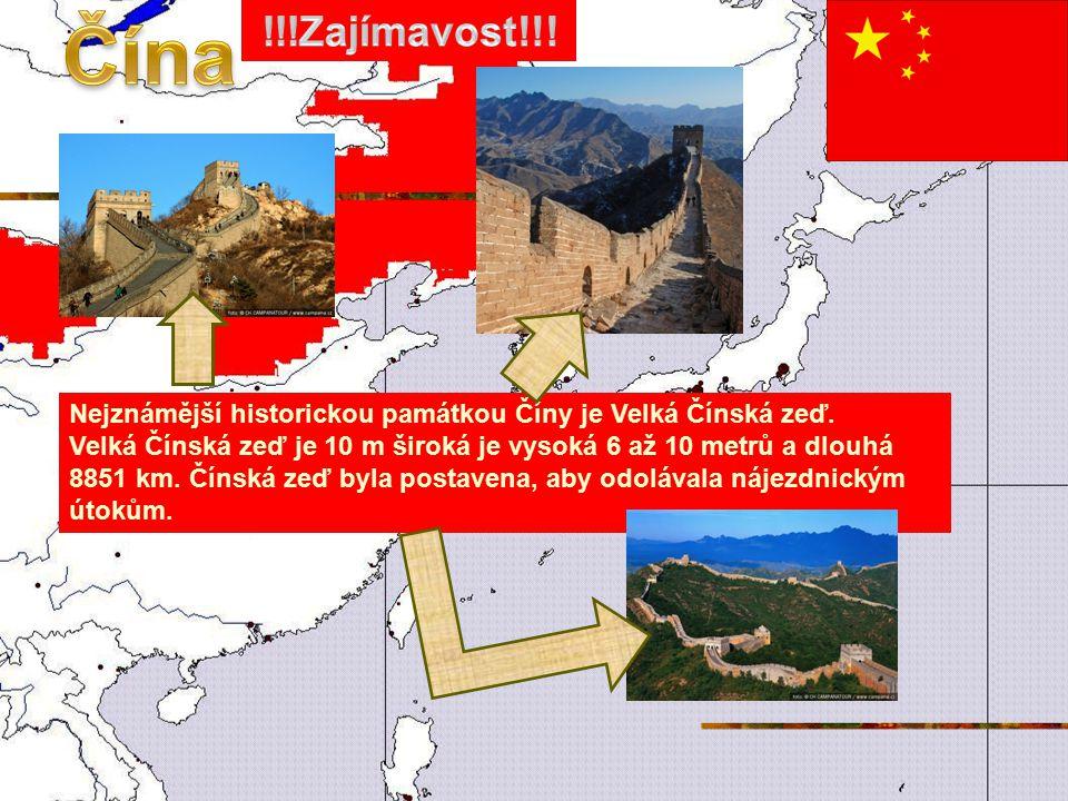 Čína !!!Zajímavost!!! Nejznámější historickou památkou Číny je Velká Čínská zeď.