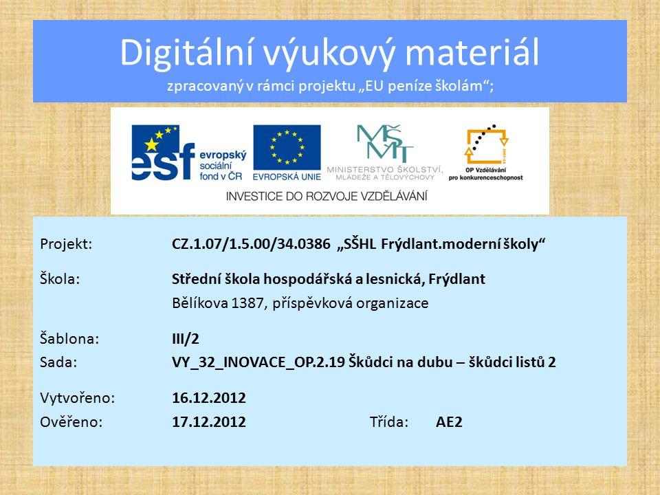 """Digitální výukový materiál zpracovaný v rámci projektu """"EU peníze školám ;"""