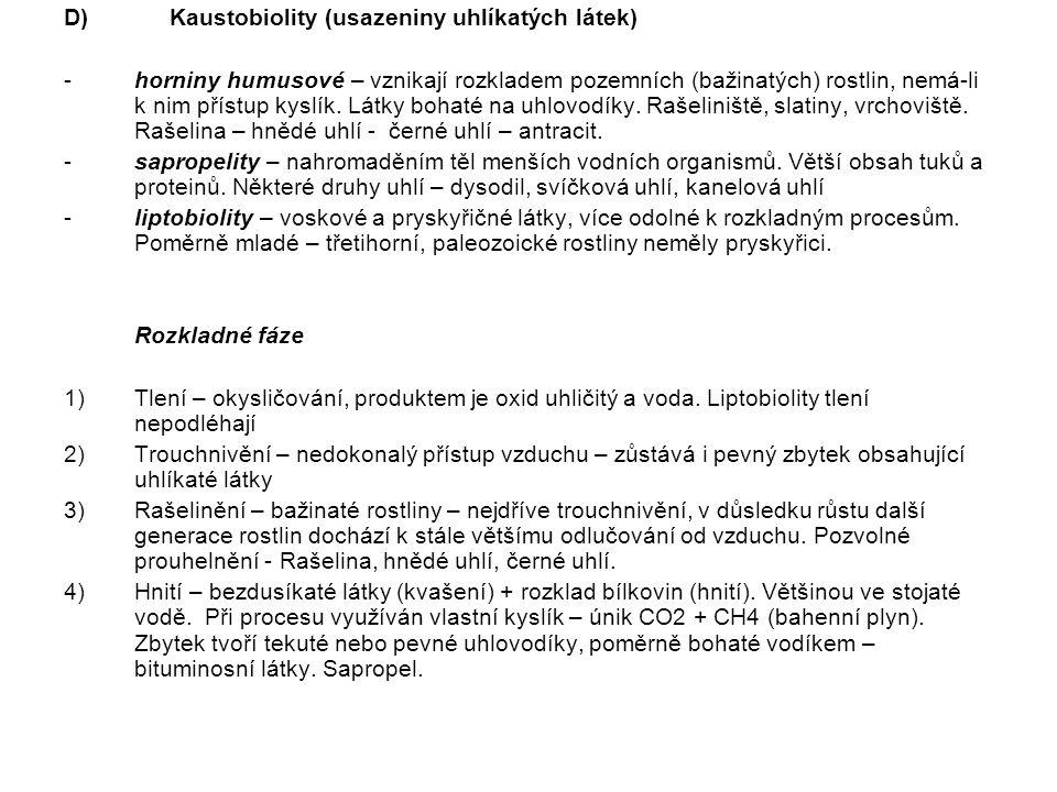 D) Kaustobiolity (usazeniny uhlíkatých látek)