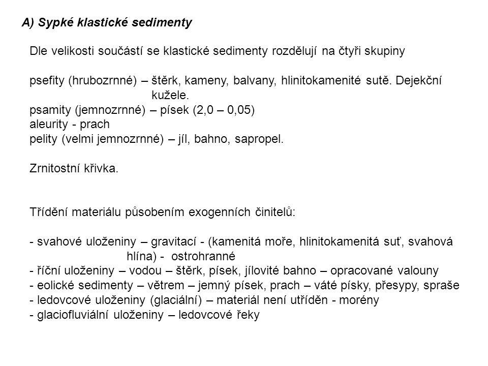 A) Sypké klastické sedimenty