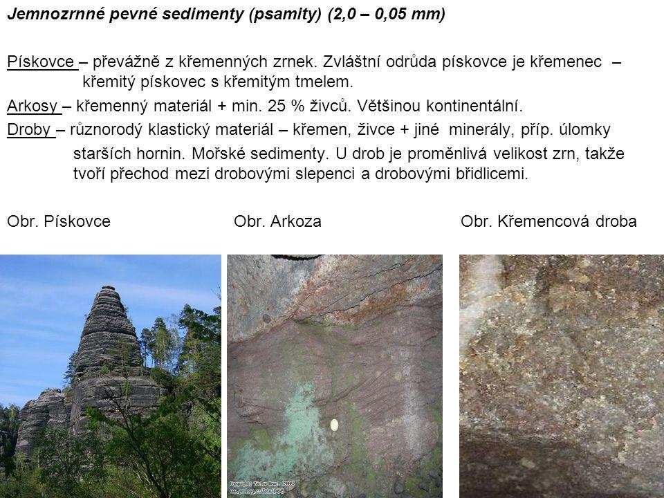 Jemnozrnné pevné sedimenty (psamity) (2,0 – 0,05 mm)