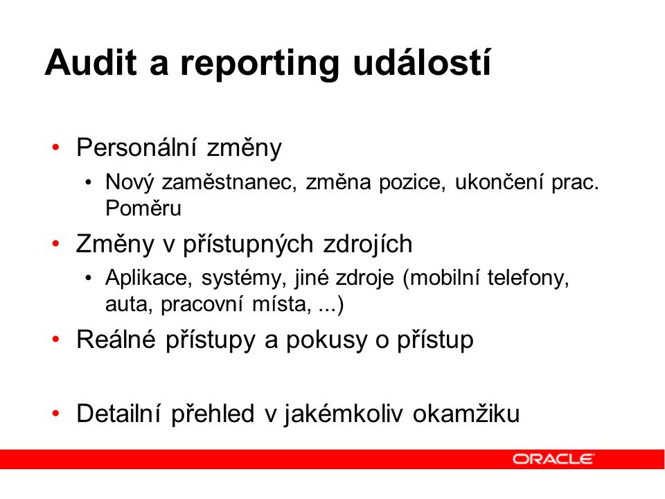 Audit a reporting událostí