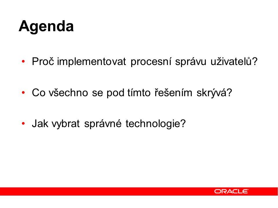 Agenda Proč implementovat procesní správu uživatelů