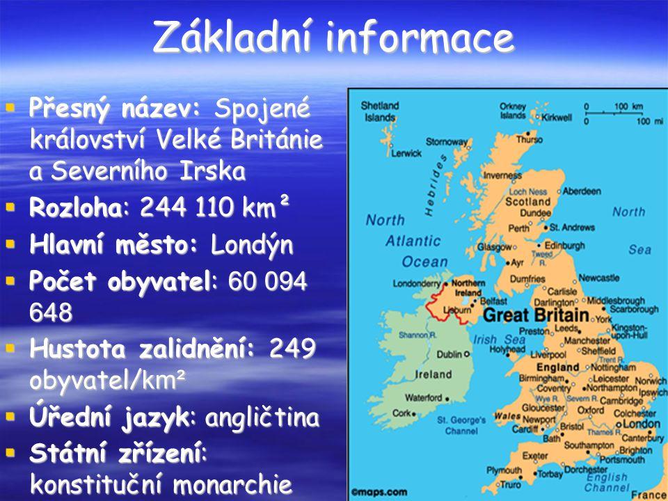 Základní informace Přesný název: Spojené království Velké Británie a Severního Irska. Rozloha: 244 110 km².