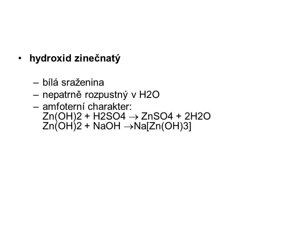 hydroxid zinečnatý bílá sraženina. nepatrně rozpustný v H2O.