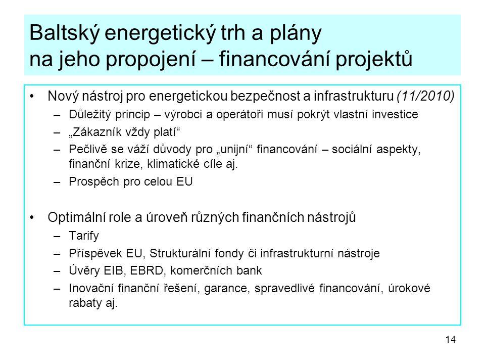Baltský energetický trh a plány na jeho propojení – financování projektů