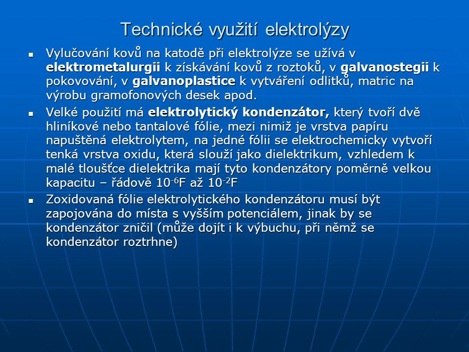 Technické využití elektrolýzy