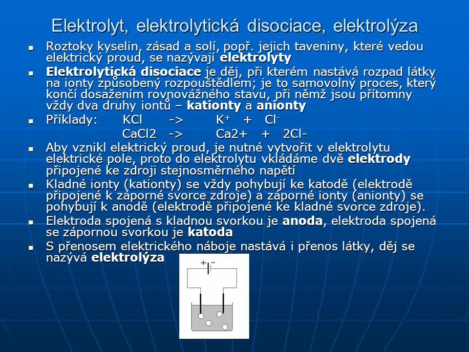 Elektrolyt, elektrolytická disociace, elektrolýza