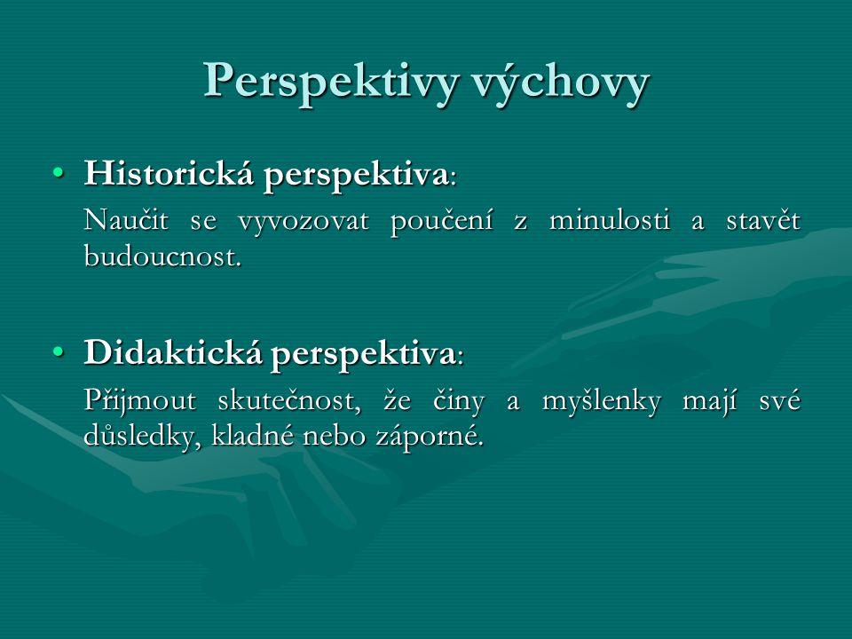Perspektivy výchovy Historická perspektiva: Didaktická perspektiva: