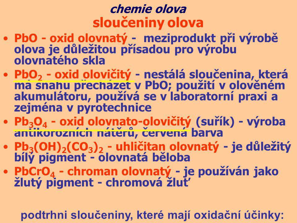 sloučeniny olova chemie olova