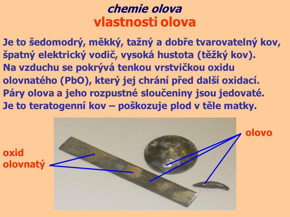 vlastnosti olova chemie olova