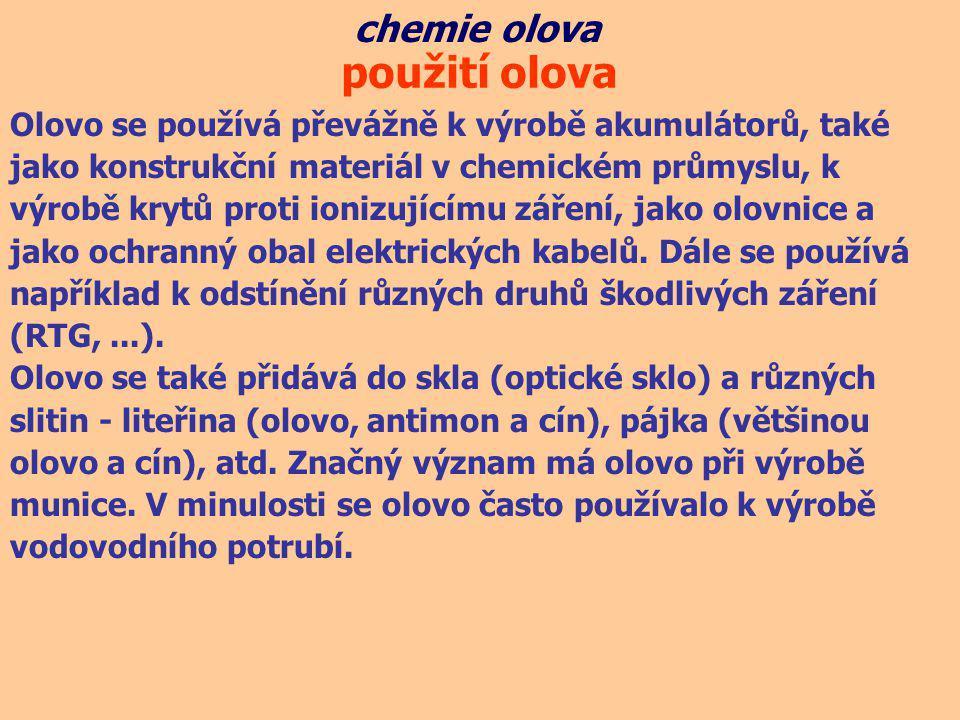 použití olova chemie olova