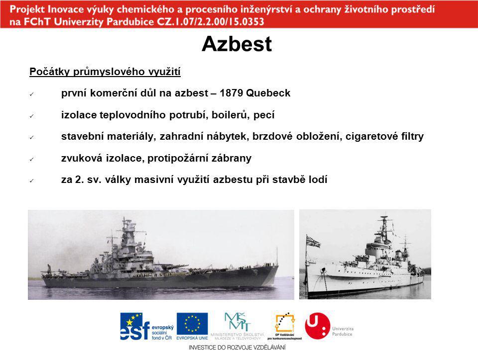 Azbest Počátky průmyslového využití