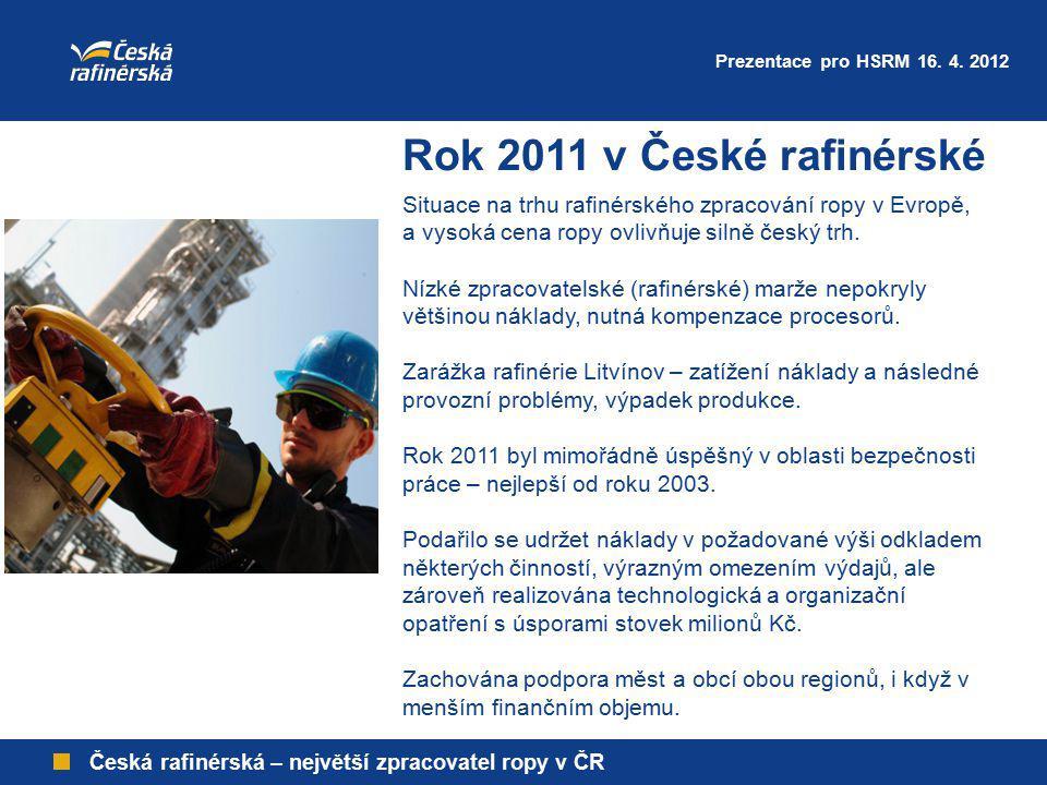 Prezentace pro HSRM 16. 4. 2012 Rok 2011 v České rafinérské. Situace na trhu rafinérského zpracování ropy v Evropě,