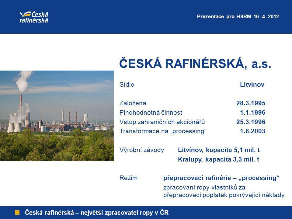 ČESKÁ RAFINÉRSKÁ, a.s. Sídlo Litvínov Založena 28.3.1995