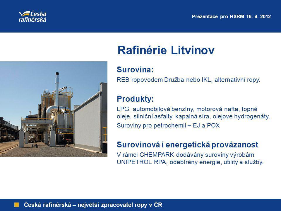 Rafinérie Litvínov Surovina: Produkty: