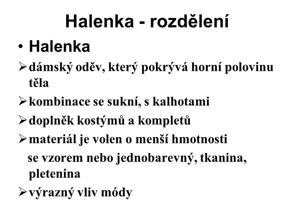 Halenka - rozdělení Halenka