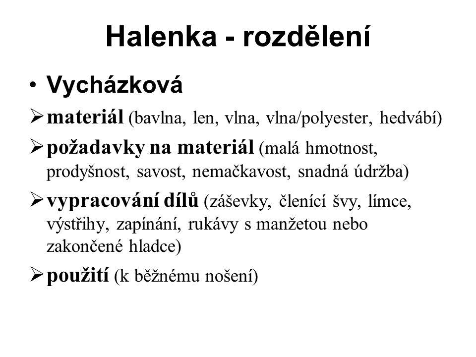 Halenka - rozdělení Vycházková