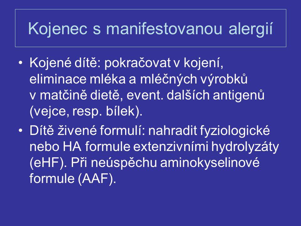 Kojenec s manifestovanou alergií