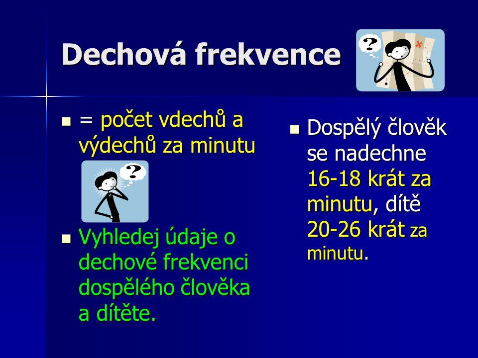 Dechová frekvence = počet vdechů a výdechů za minutu