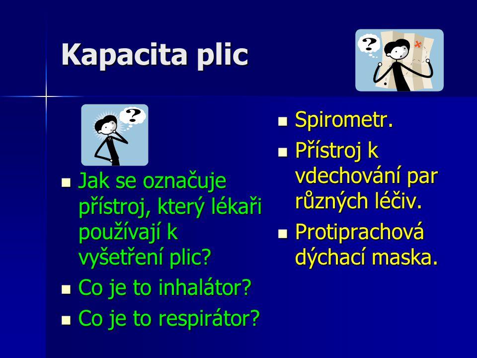 Kapacita plic Spirometr. Přístroj k vdechování par různých léčiv.