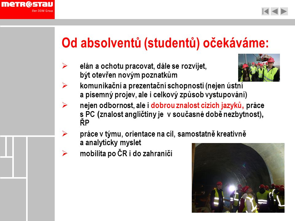 Od absolventů (studentů) očekáváme: