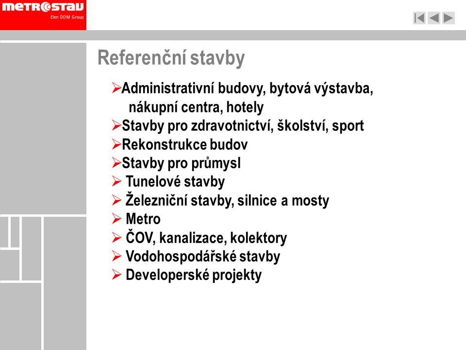 Referenční stavby Administrativní budovy, bytová výstavba, nákupní centra, hotely. Stavby pro zdravotnictví, školství, sport.