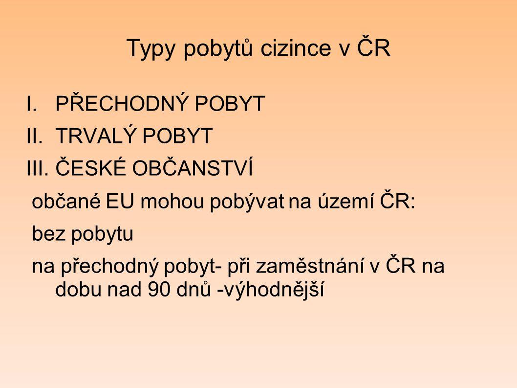 Typy pobytů cizince v ČR