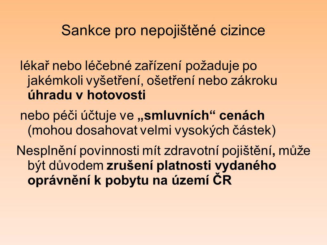 Sankce pro nepojištěné cizince