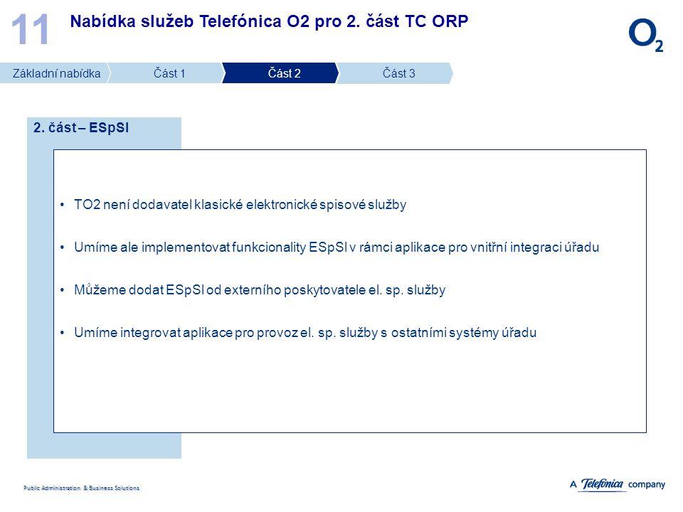 11 Nabídka služeb Telefónica O2 pro 2. část TC ORP 2. část – ESpSl