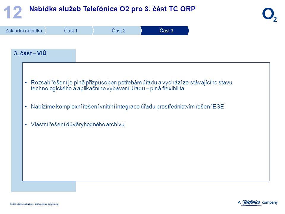 12 Nabídka služeb Telefónica O2 pro 3. část TC ORP 3. část – VIÚ