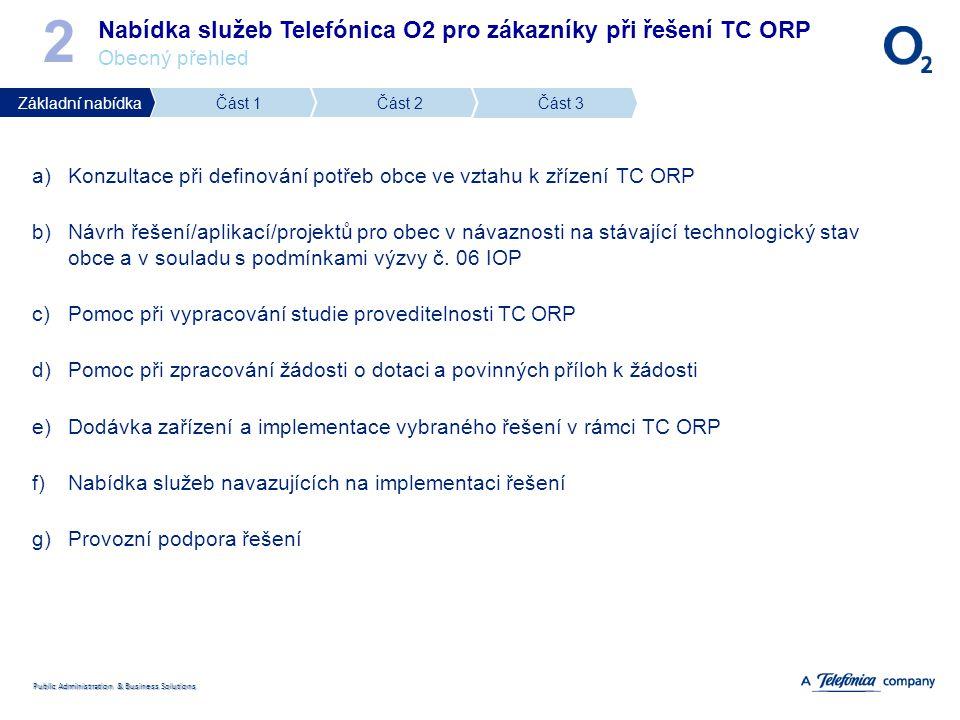 2 Nabídka služeb Telefónica O2 pro zákazníky při řešení TC ORP Obecný přehled. Základní nabídka. Část 1.