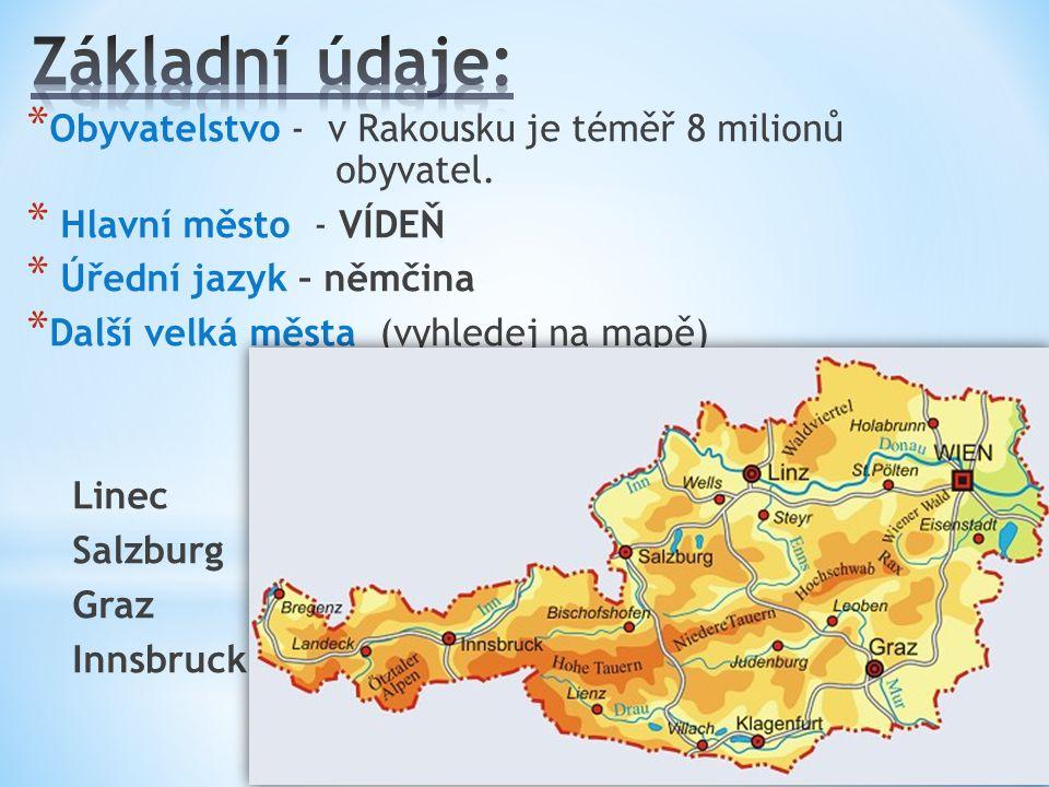 Základní údaje: Obyvatelstvo - v Rakousku je téměř 8 milionů obyvatel.