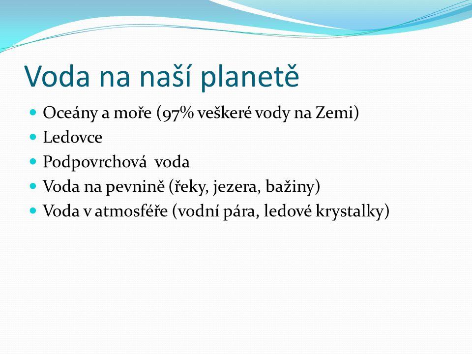 Voda na naší planetě Oceány a moře (97% veškeré vody na Zemi) Ledovce