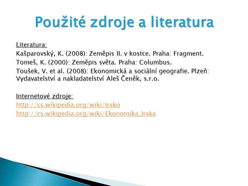 Použité zdroje a literatura