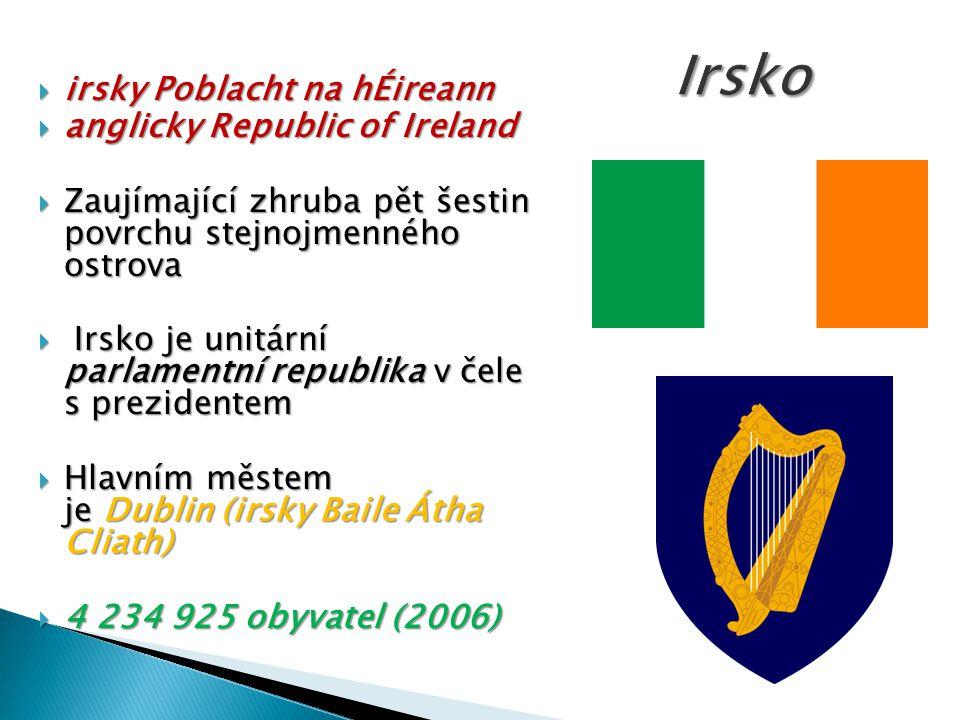 Irsko irsky Poblacht na hÉireann anglicky Republic of Ireland