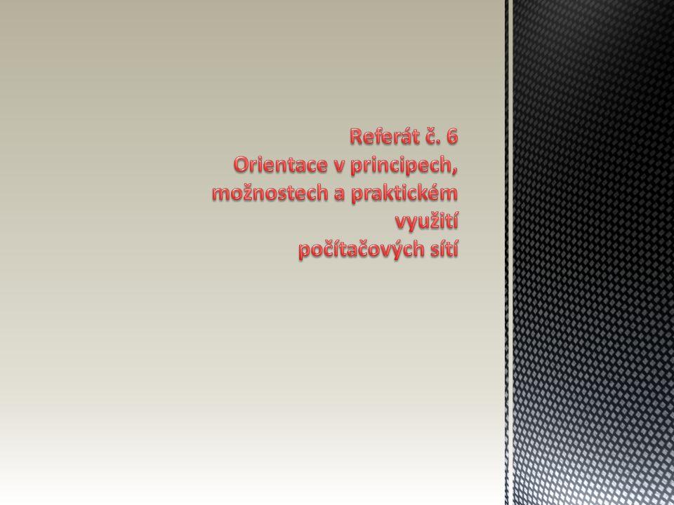 Referát č. 6 Orientace v principech, možnostech a praktickém využití počítačových sítí