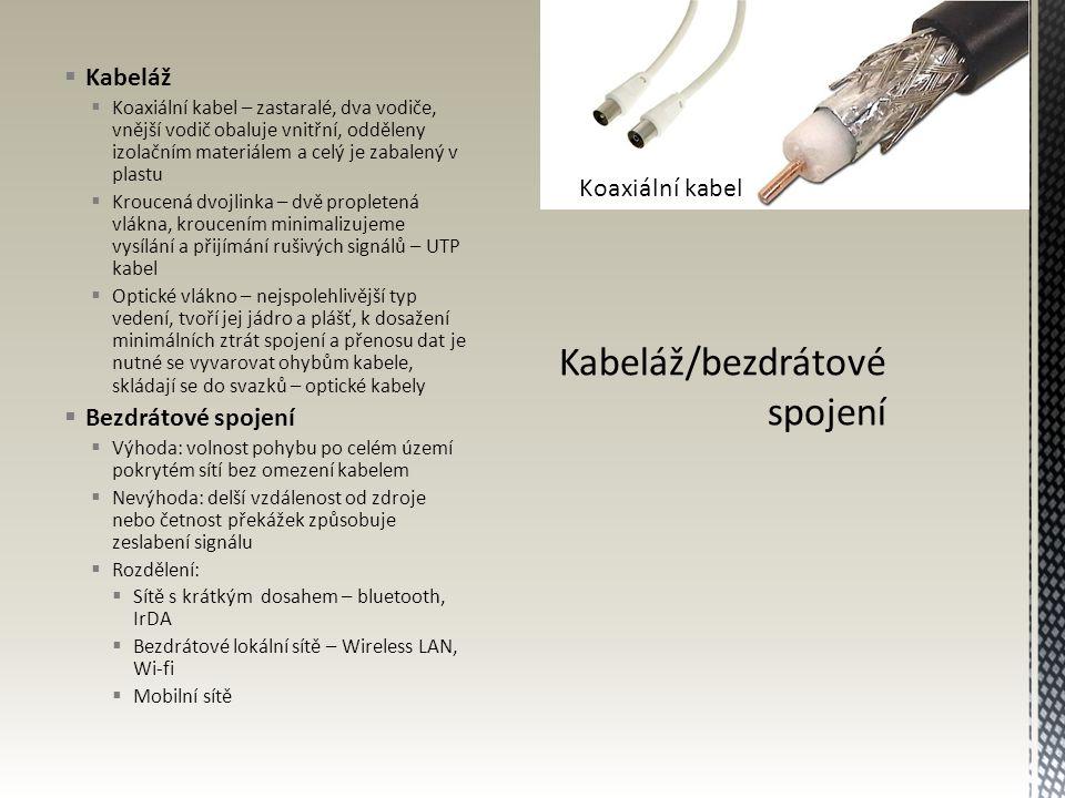 Kabeláž/bezdrátové spojení
