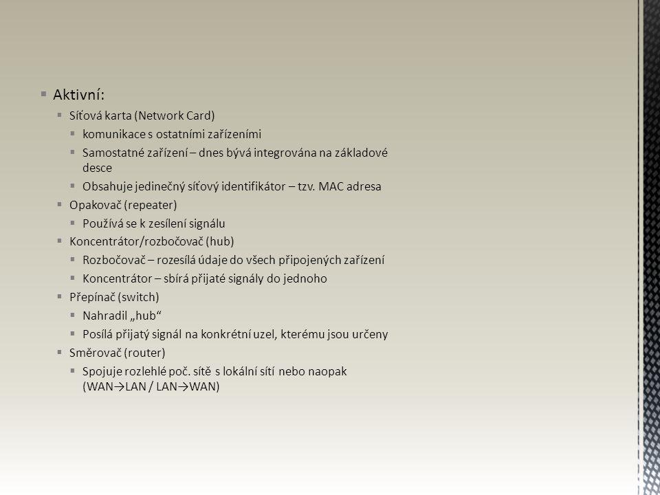 Aktivní: Síťová karta (Network Card) komunikace s ostatními zařízeními