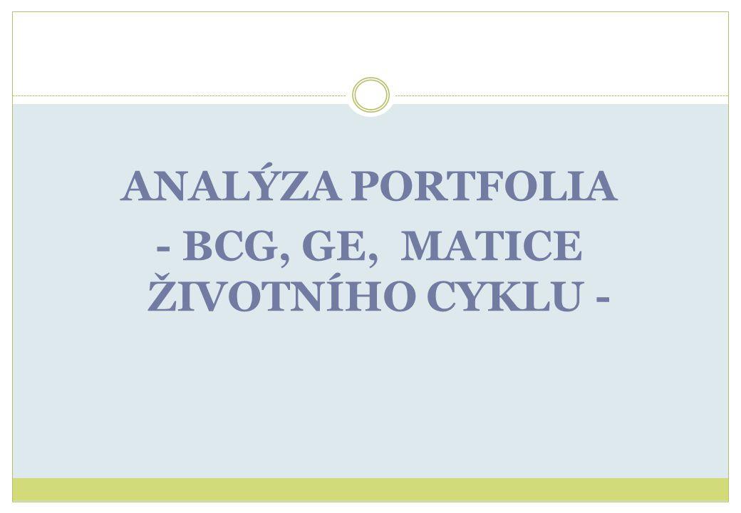 ANALÝZA PORTFOLIA - BCG, GE, MATICE ŽIVOTNÍHO CYKLU -