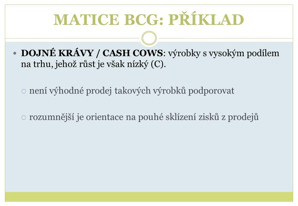 MATICE BCG: PŘÍKLAD DOJNÉ KRÁVY / CASH COWS: výrobky s vysokým podílem na trhu, jehož růst je však nízký (C).