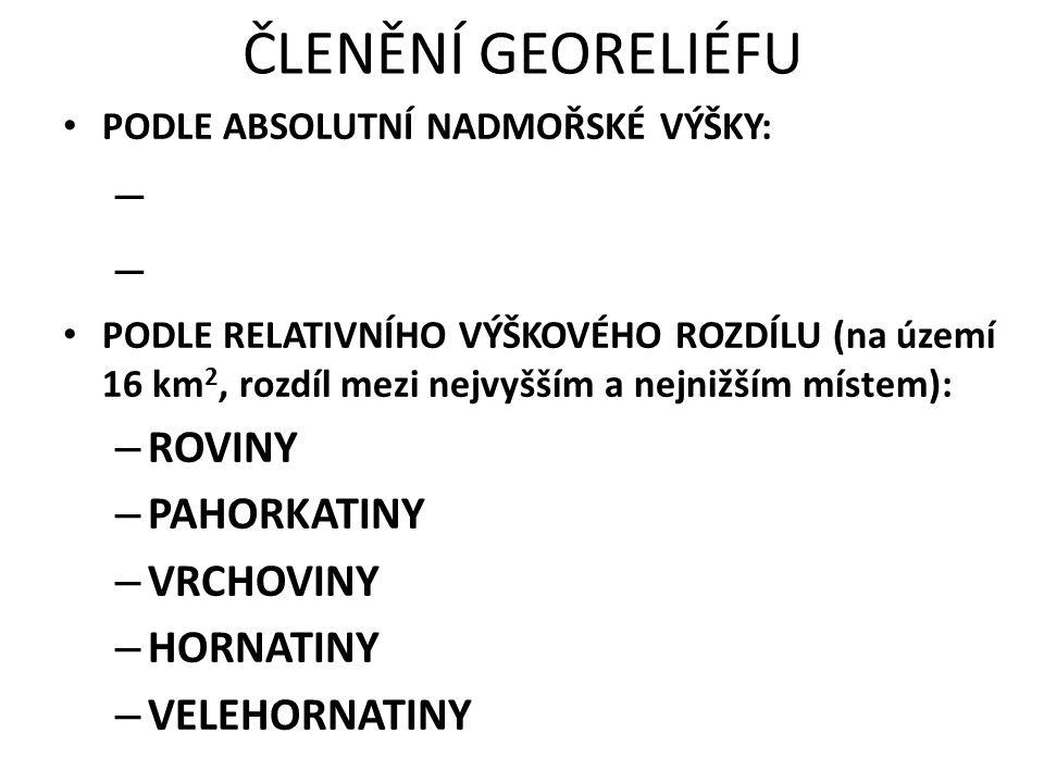 ČLENĚNÍ GEORELIÉFU ROVINY PAHORKATINY VRCHOVINY HORNATINY
