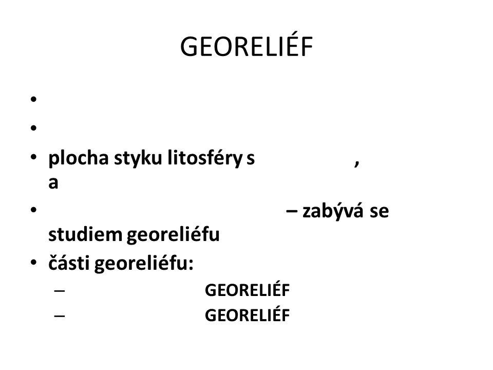GEORELIÉF plocha styku litosféry s , a – zabývá se studiem georeliéfu
