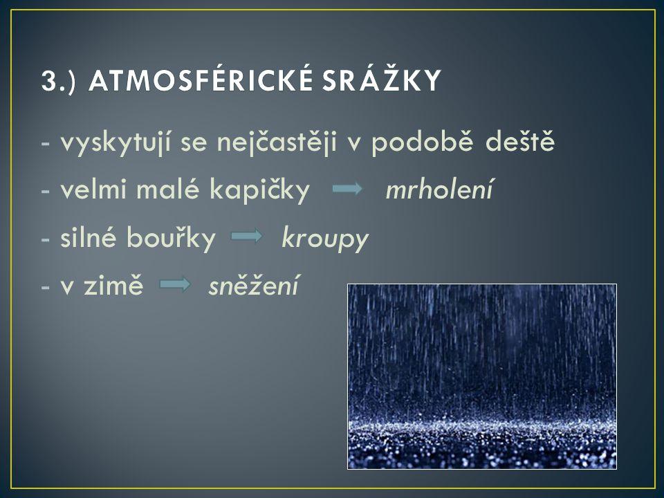 3.) ATMOSFÉRICKÉ SRÁŽKY vyskytují se nejčastěji v podobě deště. velmi malé kapičky mrholení.