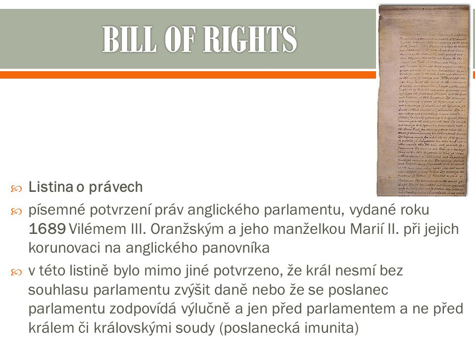 BILL OF RIGHTS Listina o právech