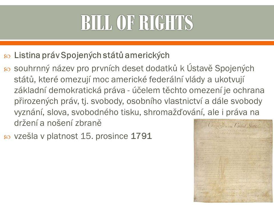 BILL OF RIGHTS Listina práv Spojených států amerických