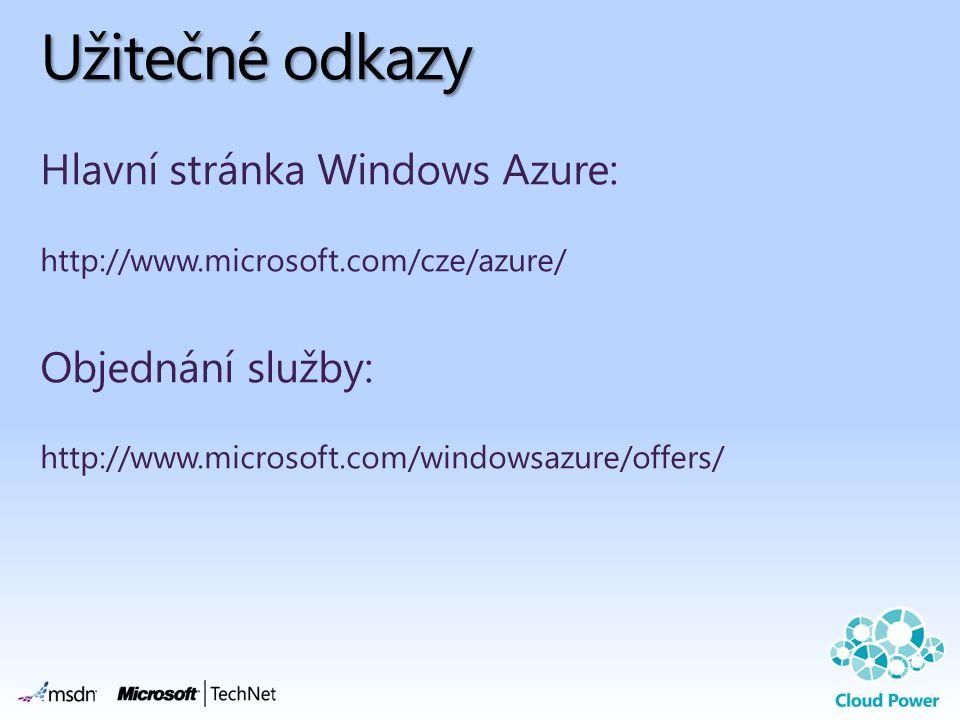 Užitečné odkazy Hlavní stránka Windows Azure: Objednání služby: