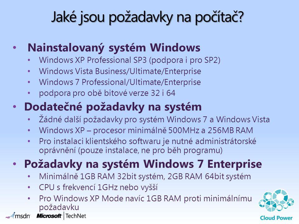 Jaké jsou požadavky na počítač