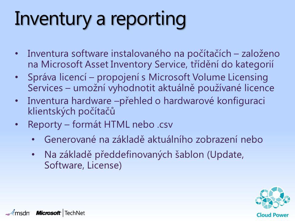 Inventury a reporting Inventura software instalovaného na počítačích – založeno na Microsoft Asset Inventory Service, třídění do kategorií.