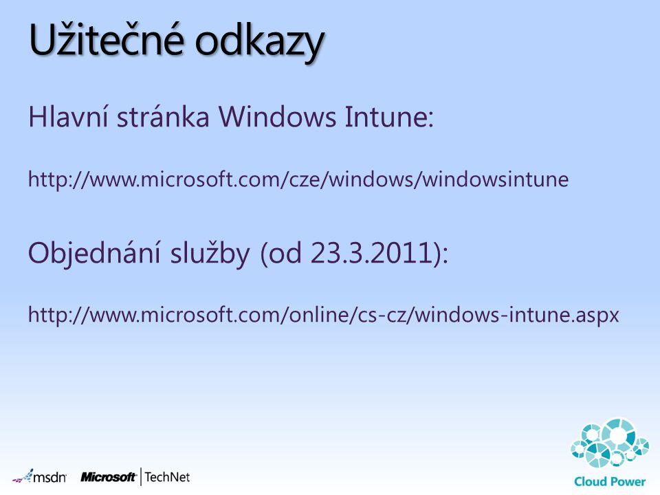 Užitečné odkazy Hlavní stránka Windows Intune: